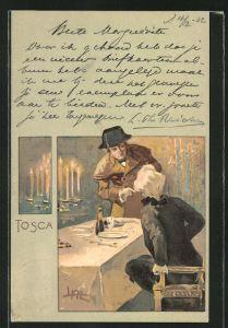 Künstler-AK Leopoldo Metlicovitz: Szene aus Tosca, Gespräch an der Tafel