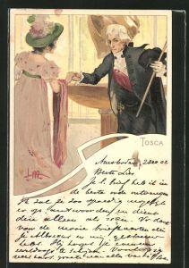 Künstler-AK Leopoldo Metlicovitz: Szene aus Tosca, Herr begrüsst eine Dame
