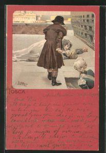 Künstler-AK Leopoldo Metlicovitz: Szene aus Tosca, Dame am Boden