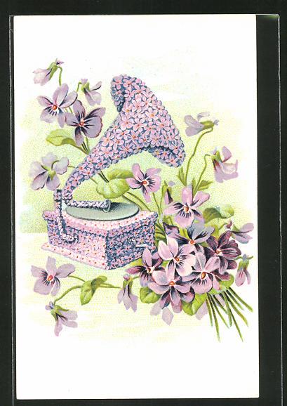 Künstler-AK Blumenbild, Grammophon aus Veilchen