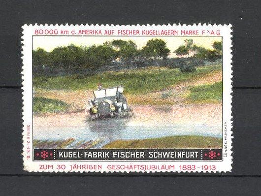Reklamemarke Kugel-Fabrik Fischer, Schweinfurt, Auto im Fluss