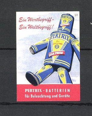 Reklamemarke Petrix-Batterien für Beleuchtung und Geräte, Batterien-Roboter