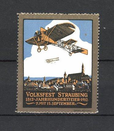 Reklamemarke Volksfest Straubing 1912, Jahrhundertfeier, Segelflugzeuge
