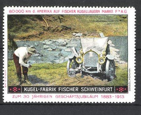 Reklamemarke Kugel-Fabrik Fischer, Schweinfurt, Auto am Flussufer