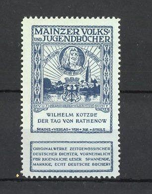 Reklamemarke Mainzer Volks- und Jugendbücher, Wilhelm Kotzde