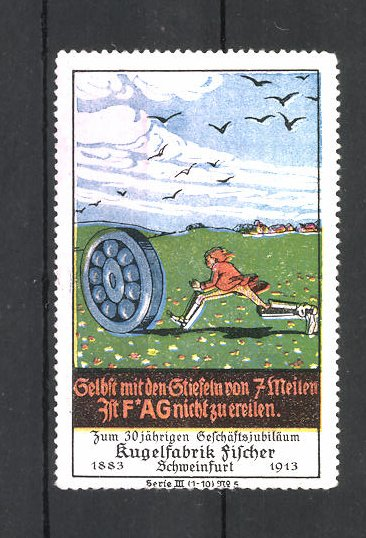 Reklamemarke Kugelfabrik Fischer in Schweinfurt, Mann rennt einem Kugellager hinterher