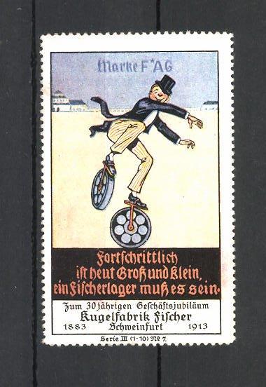 Reklamemarke Kugelfabrik Fischer in Schweinfurt, 30 jähriges Jubiläum 1883-1913, Marke FAG