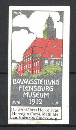 Künstler-Reklamemarke Holtz, Flensburg, Bauaustellung 1912, Schlossansicht