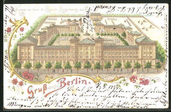 Lithographie Berlin-Kreuzberg, Kaserne des 3. Garde-Regiments zu Fuss