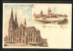Lithographie Köln, Ansicht vom Dom, Panoramablick über den Rhein