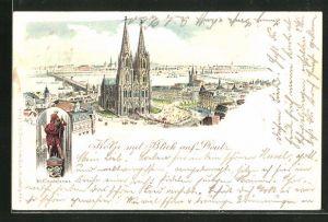 Lithographie Köln-Deutz, Dom mit Blick auf Deutz