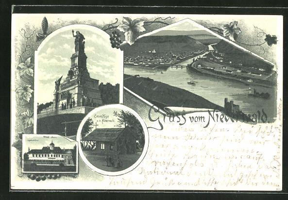 Lithographie Nationaldenkmal auf dem Niederwald, Eremitage auf dem Niederwald