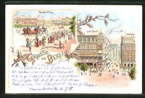 Lithographie Berlin, Cafe Bauer und Cafe Kranzler mit Blick in die Friedrichstrasse, Pariser Platz