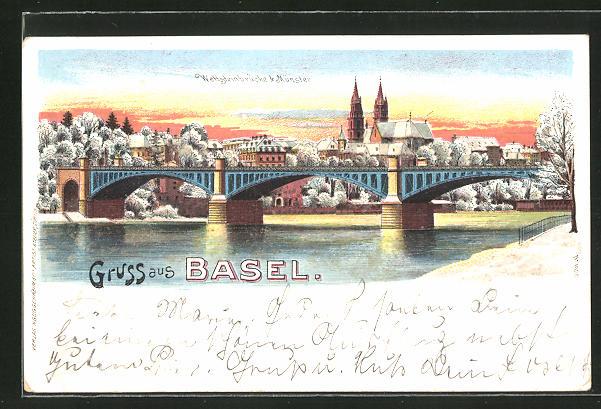 Winter-Lithographie Basel, Wettsteinbrücke & Münster