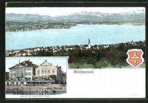 AK Wädenswil, Gesamtansicht, Gasthof zum Engl. Hotel del' Ange
