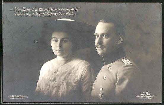 AK Prinz Heinrich XXXIII. von Reuss und seine Braut Prinzessin Victoria Margarete von Preussen