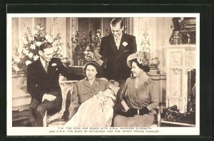 AK King and Queen with Princess Elizabeth and the Duke of Edinburgh and the Infant Prince Charles