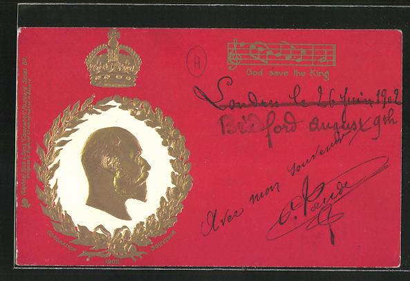 Präge-AK König von England, Seitenportrait, Krone, Noten für
