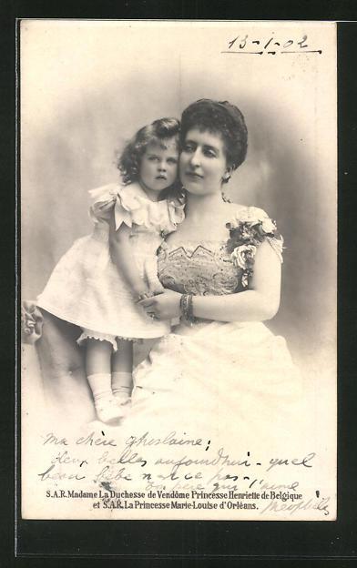 AK Prinzessin Henriette von Belgien mit ihrer Tochter Marie Louise von Orleans