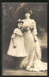 AK Madame la Duchesse de Vendôme et la Princesse Marie-Louise d'Orléans