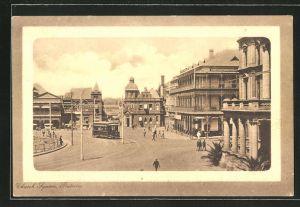 Passepartout-AK Pretoria, Blick auf die Church Street, Strassenbahn