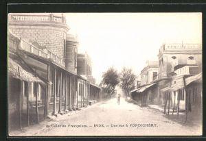 AK Pondichery, Une rue, Strassenansicht