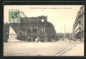 AK Colombo, Rue principale, Statue Reine Victoria, York Street Fort