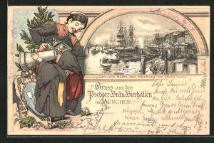Passepartout-Lithographie München, Gasthof Pschorr-Bräu-Bierhallen, Alter Hafen von Hamburg