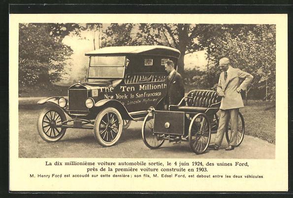 AK Zehn millionstes Auto der Ford-Werke, Henry Ford und sein Sohn Edsel Ford