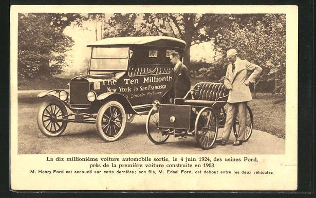 AK Henry Ford und sein Sohn Edsel Ford mit dem 10 millionsten Auto der Ford-Werke