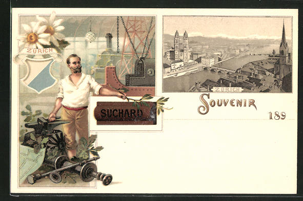 Künstler-AK Zürich, Stadt-Panorama, Schmied, Reklame für Cacao Suchard