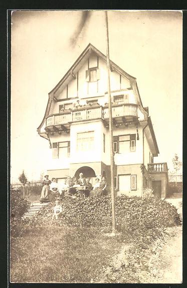 Foto-AK Schondorf, Villa von Oberlehrer Merkel