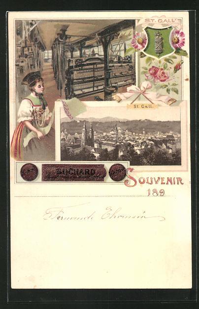 Künstler-AK St. Gallen, Blick auf die Stadt, Weberei, Reklame für Cacao Suchard