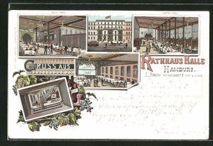 Lithographie Hamburg, Gasthaus zur Rathaus Halle, Hauptsaal, Oberer Saal, Glashalle, Aufgang zum oberen Saal