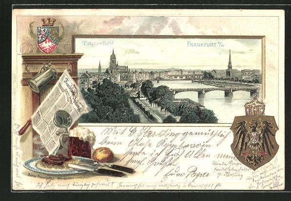 Präge-Passepartout-Lithographie Frankfurt, Totalansicht aus der Vogelschau, gedeckter Mittagstisch und Wappen