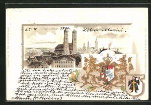 Passepartout-Lithographie München, Frauenkirche im Stadtbild, Wappen