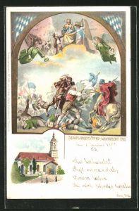 Lithographie München-Sendling, Sendlinger Mord-Weihnacht 1705, Kirche