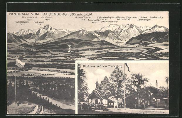 AK Warngau, Blockhaus auf dem Taubenberg, Panorama vom Taubenberg