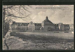 AK München-Neuhausen, Kaserne des Kgl. bayer. Telegraphen-Bataillon, Vorderansicht