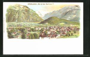 Lithographie Interlaken, Panoramablick auf die Stadt, Suchbild