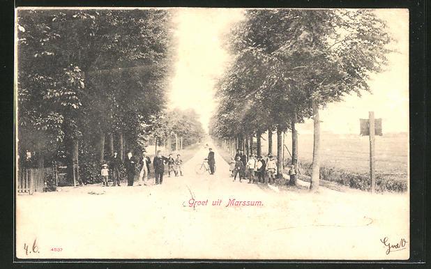 AK Marssum, Strassenpartie am Ortsausgang