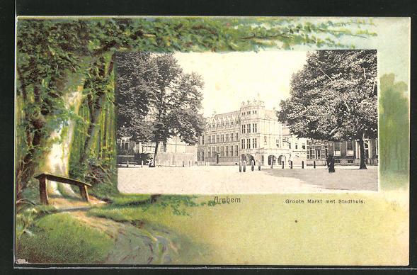 AK Arnhem, Groote Markt met Stadthuis 0