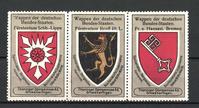 Reklamemarke Wappen Fürstentum Schb.-Lippe, Fürstentum Reuss ält. Linie und Fr. u. Hansast. Bremen