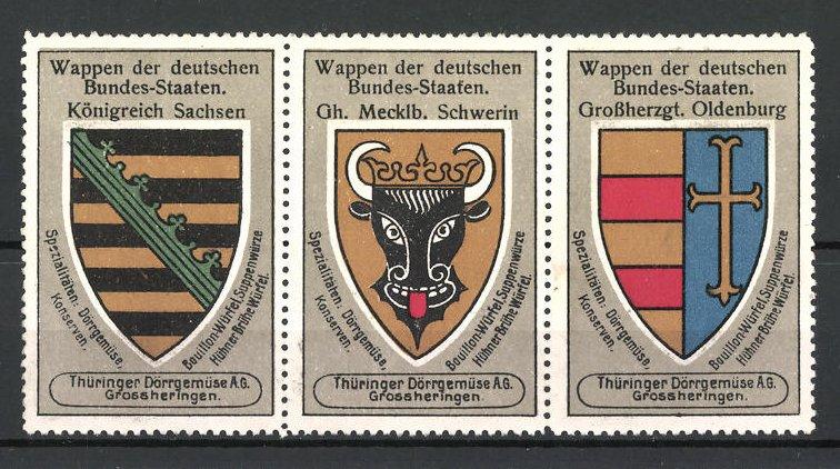 Reklamemarke Wappen Königreich Sachsen, Gh. Mecklb. Schwerin und Grossherzgt. Oldenburg 0