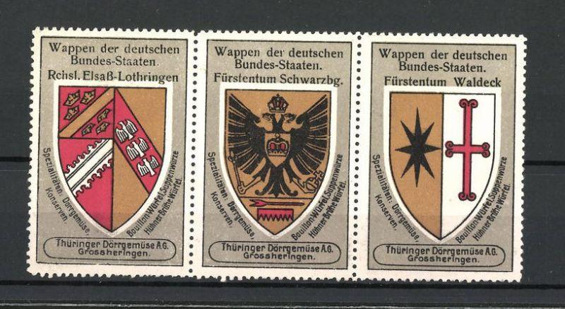 Reklamemarke Wappen Rchsl. Elsass-Lothringen, Fürstentum Schwarzbg. und Fürstentum Waldeck 0