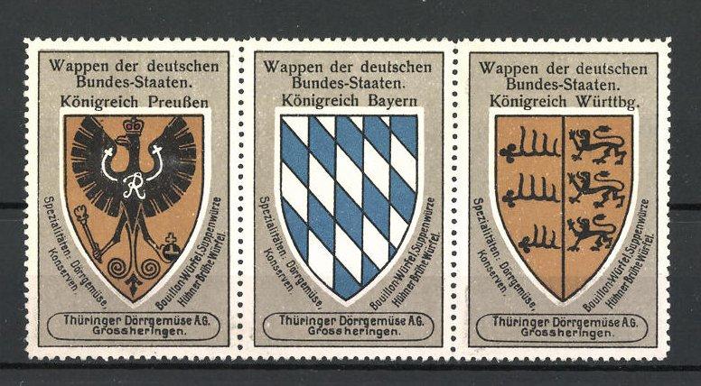 Reklamemarke Wappen Königreich Preussen, Königreich Bayern und Königreich Württemberg