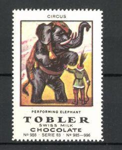 Reklamemarke Tobler Chocolate, Swiss Milk, Circus perfoming Elephant