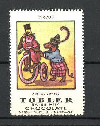 Reklamemarke Tobler Chocolate, Swiss Milk, Circus Animal Comics