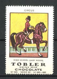 Reklamemarke Tobler Chocolate, Swiss Milk, Circus High School Lady Rider