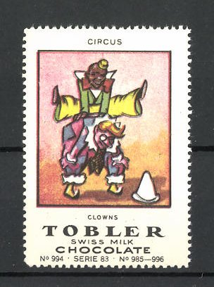 Reklamemarke Tobler Chocolate, Swiss Milk, Circus Clowns